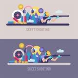 Πυροβολισμός Skeet Ένα επαγγελματικό άθλημα στοιχεία σχεδίου που τί&th VE Ελεύθερη απεικόνιση δικαιώματος