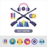 Πυροβολισμός Skeet απομονωμένο eps διανυσματικό λευκό 8 εμβλημάτων στοιχεία σχεδίου που τί&th Στρογγυλό ico Απεικόνιση αποθεμάτων