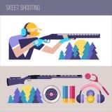 Πυροβολισμός Skeet στοιχεία σχεδίου που τί&th επίσης corel σύρετε το διάνυσμα απεικόνισης Στοκ Εικόνες