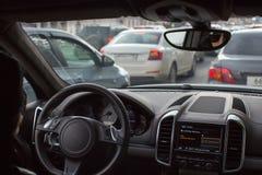 Πυροβοληθείς του αυτοκινήτου από μέσα Στοκ Φωτογραφίες