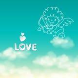 Πυροβολισμός από το τόξο Cupid και την αγάπη λέξης στο ηλιόλουστο υπόβαθρο ουρανού Στοκ εικόνα με δικαίωμα ελεύθερης χρήσης