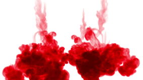 Πυροβολισμός κινηματογραφήσεων σε πρώτο πλάνο Κόκκινη αποσύνθεση χρωστικών ουσιών στο νερό και κίνηση σε σε αργή κίνηση Χρήση για ελεύθερη απεικόνιση δικαιώματος