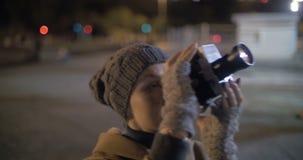 Πυροβολισμός νύχτας Coliseum με την αναδρομική κάμερα απόθεμα βίντεο