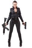 πυροβόλα όπλα που θέτουν τη γυναίκα στοκ φωτογραφίες με δικαίωμα ελεύθερης χρήσης