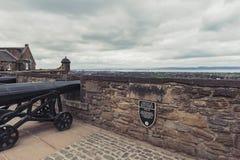 Πυροβόλο στην μπαταρία Argyle μέσα στο Εδιμβούργο Castle, το δημοφιλές τουριστικό αξιοθέατο και το ορόσημο του Εδιμβούργου, Σκωτί Στοκ φωτογραφία με δικαίωμα ελεύθερης χρήσης