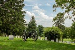 Πυροβόλο στο εθνικό πεδίο μάχη Gettysburg νεκροταφείων Στοκ εικόνα με δικαίωμα ελεύθερης χρήσης