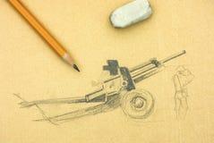 πυροβόλο Σχέδιο μολυβιών με το κίτρινες μολύβι και τη γόμα Στοκ εικόνες με δικαίωμα ελεύθερης χρήσης