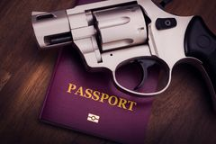 Πυροβόλο όπλο και διαβατήριο Στοκ φωτογραφία με δικαίωμα ελεύθερης χρήσης