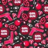 Πυροβόλο όπλο κοριτσιών Άνευ ραφής σχέδιο μόδας με το πυροβόλο όπλο, lollipop, το διαμάντι, το βέλος, τα μάτια, τη βόμβα, λαμπρός απεικόνιση αποθεμάτων