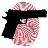 Πυροβόλο όπλο και αιματηρό δακτυλικό αποτύπωμα Στοκ φωτογραφία με δικαίωμα ελεύθερης χρήσης