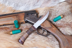 Πυροβόλο όπλο και μαχαίρι κυνηγιού Στοκ Εικόνες
