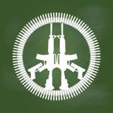 Πυροβόλο όπλο και σφαίρα στο σύμβολο ειρήνης στον πράσινο πίνακα - διανυσματική απεικόνιση Στοκ Εικόνες