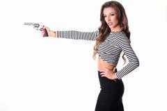 πυροβόλο όπλο κοριτσιών προκλητικό Στοκ φωτογραφία με δικαίωμα ελεύθερης χρήσης