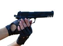 Πυροβόλο όπλο - πιστόλι & γαλλικά καρφιά στο λευκό Στοκ φωτογραφία με δικαίωμα ελεύθερης χρήσης