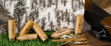 πυρομαχικά για ένα τουφέκι κυνηγιού ενάντια σε μια σημύδα Στοκ Εικόνες