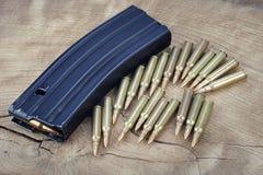 Πυρομαχικά με το περιοδικό στο ξύλο στοκ εικόνες με δικαίωμα ελεύθερης χρήσης