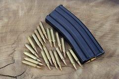 Πυρομαχικά με το περιοδικό στο ξύλο στοκ εικόνες