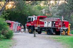 Πυροσβέστες αρχών πυρόσβεσης χώρας στη Μελβούρνη, Αυστραλία Στοκ Φωτογραφία
