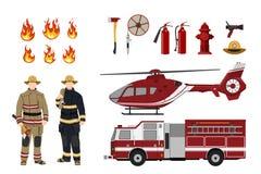Πυροσβέστες και εξοπλισμός προσβολής του πυρός σε ένα άσπρο υπόβαθρο Αυτοκίνητο ελικοπτέρων και πυροσβεστών ` s Εικονίδια της φλό Στοκ Εικόνες