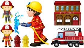 Πυροσβέστες και πυροσβεστικός σταθμός ελεύθερη απεικόνιση δικαιώματος