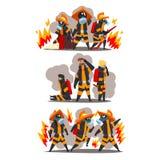Πυροσβέστες με τον πυροσβεστικό εξοπλισμό, χαρακτήρες πυροσβεστών στις ομοιόμορφες και προστατευτικές μάσκες στη διανυσματική απε ελεύθερη απεικόνιση δικαιώματος
