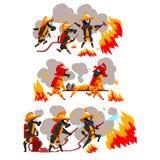 Πυροσβέστες που εξαφανίζουν την πυρκαγιά και που βοηθούν τους ανθρώπους, χαρακτήρες πυροσβεστών στις ομοιόμορφες και προστατευτικ ελεύθερη απεικόνιση δικαιώματος