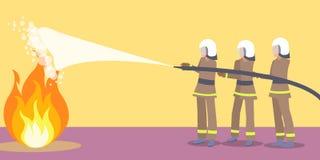 Πυροσβέστες στα κράνη που προσπαθούν να εξαφανίσει την πυρκαγιά διανυσματική απεικόνιση