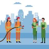 Πυροσβέστες στην πόλη διανυσματική απεικόνιση