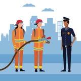 Πυροσβέστες στην πόλη ελεύθερη απεικόνιση δικαιώματος