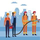 Πυροσβέστες στην πόλη απεικόνιση αποθεμάτων