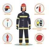 Πυροσβέστης ή πυροσβέστης με το κράνος και το στόμιο υδροληψίας απεικόνιση αποθεμάτων