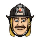 Πυροσβέστης ή πυροσβέστης στο προστατευτικό κράνος διανυσματική απεικόνιση