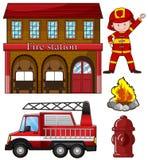 Πυροσβέστης και πυροσβεστικός σταθμός ελεύθερη απεικόνιση δικαιώματος