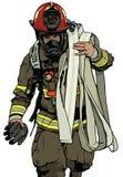 Πυροσβέστης με τη μάνικα πυρκαγιάς διανυσματική απεικόνιση