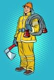 Πυροσβέστης με το τσεκούρι και το στόμιο υδροληψίας διανυσματική απεικόνιση