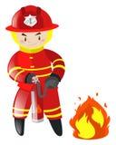 Πυροσβέστης που σβήνει την πυρκαγιά απεικόνιση αποθεμάτων