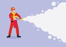 Πυροσβέστης που ψεκάζει τα πυροσβεστικά διανυσματικά κινούμενα σχέδια Illustrati αφρού ελεύθερη απεικόνιση δικαιώματος