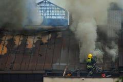 Πυροσβέστης στην εργασία για την εξάλειψη της πραγματικής πυρκαγιάς στοκ εικόνες με δικαίωμα ελεύθερης χρήσης