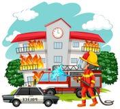 Πυροσβέστης στον τόπο της πυρκαγιάς ελεύθερη απεικόνιση δικαιώματος