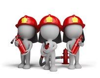 Πυροσβέστης τρία με τους πυροσβεστήρες ελεύθερη απεικόνιση δικαιώματος