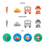Πυροσβέστης, φλόγα, πυροσβεστικό όχημα Η πυρκαγιά departmentset έθεσε τα εικονίδια συλλογής στα κινούμενα σχέδια, επίπεδο, μονοχρ ελεύθερη απεικόνιση δικαιώματος
