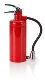 Πυροσβεστήρας με τη μάνικα που απομονώνεται στο άσπρο υπόβαθρο Στοκ Φωτογραφία