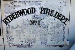 Πυροσβεστική υπηρεσία Ryderwood αριθ. 1 πόρτα πυροσβεστικών αντλιών Στοκ Φωτογραφίες