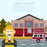 Πυροσβεστικός σταθμός Banner3 απεικόνιση αποθεμάτων
