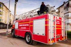Πυροσβεστικό όχημα στην περίπτωση έκτακτης ανάγκης Στοκ Φωτογραφίες