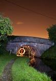 πυροτέχνημα γεφυρών κάτω Στοκ Φωτογραφία