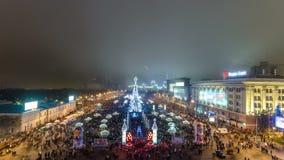 Πυροτέχνημα επάνω από το χριστουγεννιάτικο δέντρο timelapse, Kharkov, Ουκρανία απόθεμα βίντεο