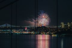 Πυροτέχνημα καλή χρονιά 2018 @ Σαν Φρανσίσκο Στοκ Εικόνες