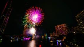 Πυροτέχνημα στον ποταμό, Μπανγκόκ Στοκ Εικόνες
