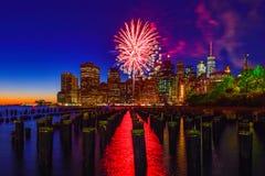 Πυροτέχνημα στο Μανχάταν, πόλη της Νέας Υόρκης στοκ εικόνα